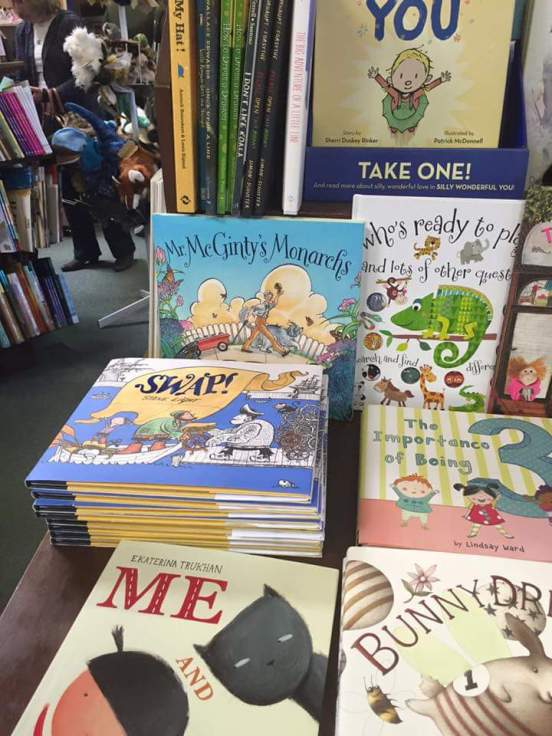 alighted on the shelf at Hicklebee's Bookstore in San Jose, CA.jpg